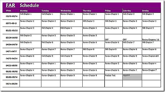 FAR Study Schedule